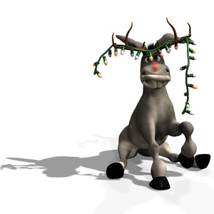 Goofy Christmas Donkeywith a string of Christmas lights hanging from his antler hat.